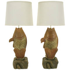 Substantial Pair of Hand-Carved Wood Koi Fish Table Lamps