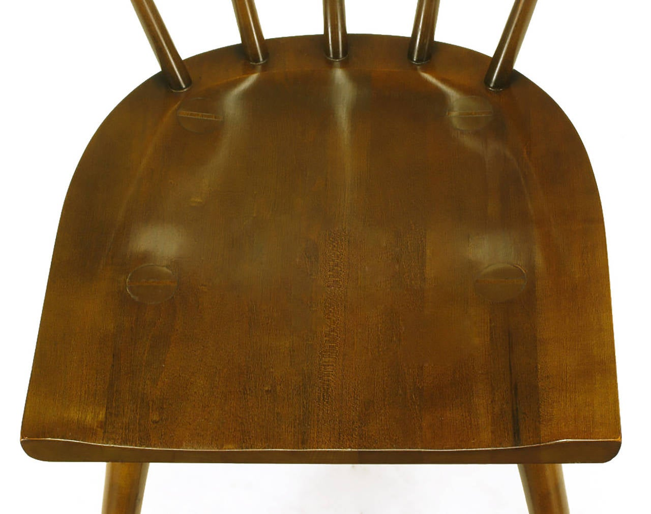 Four Paul McCobb Dark Maple Spindle-Back Dining Chairs For Sale 4