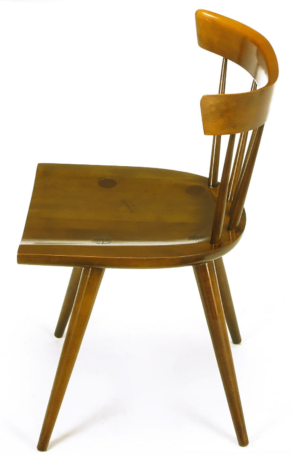 Four Paul McCobb Dark Maple Spindle-Back Dining Chairs In Good Condition For Sale In Chicago, IL