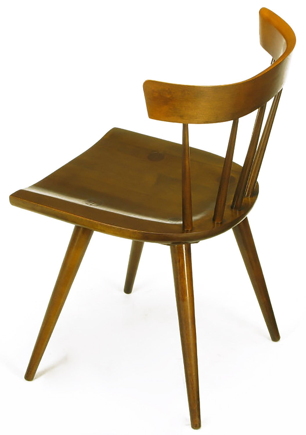 Mid-20th Century Four Paul McCobb Dark Maple Spindle-Back Dining Chairs For Sale