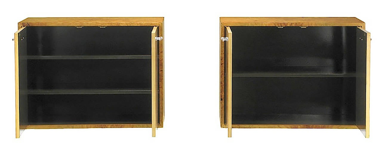 Pair of Milo Baughman for Directional Burled Olive Wall-Mount Cabinets For Sale 3