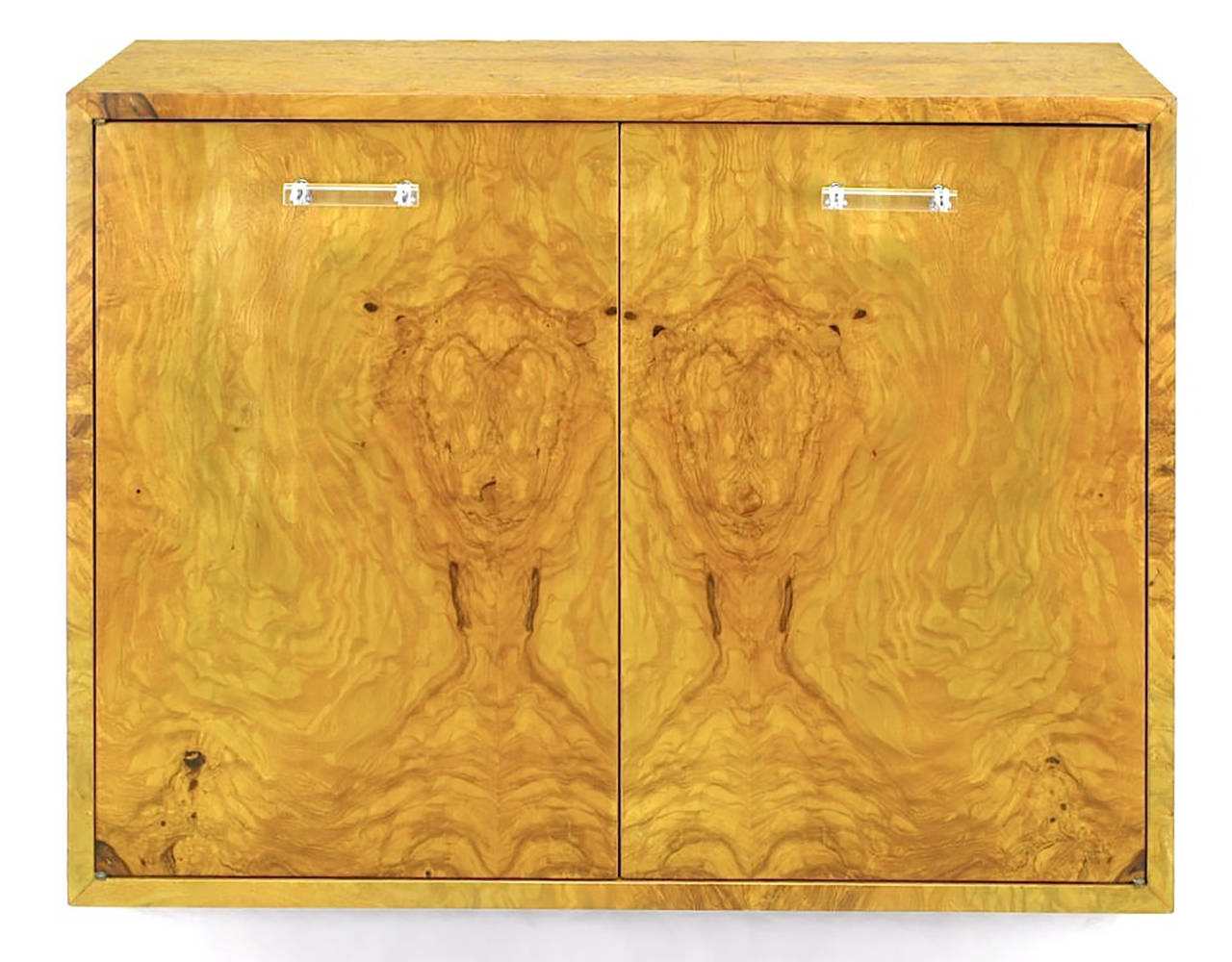 American Pair of Milo Baughman for Directional Burled Olive Wall-Mount Cabinets For Sale