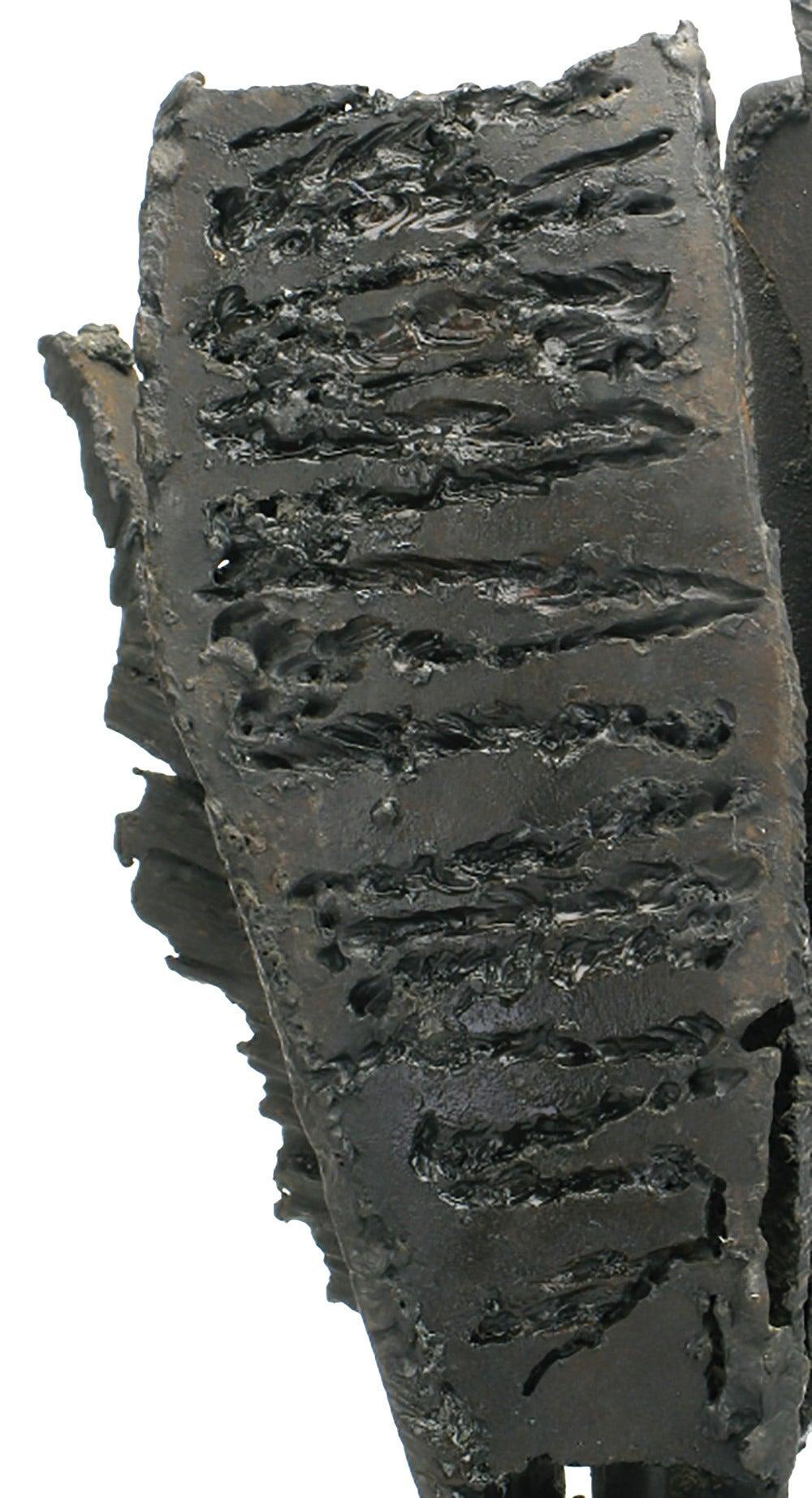 H.I. Gates Brutalist Metal Abstract Sculpture on Wood Base For Sale 1