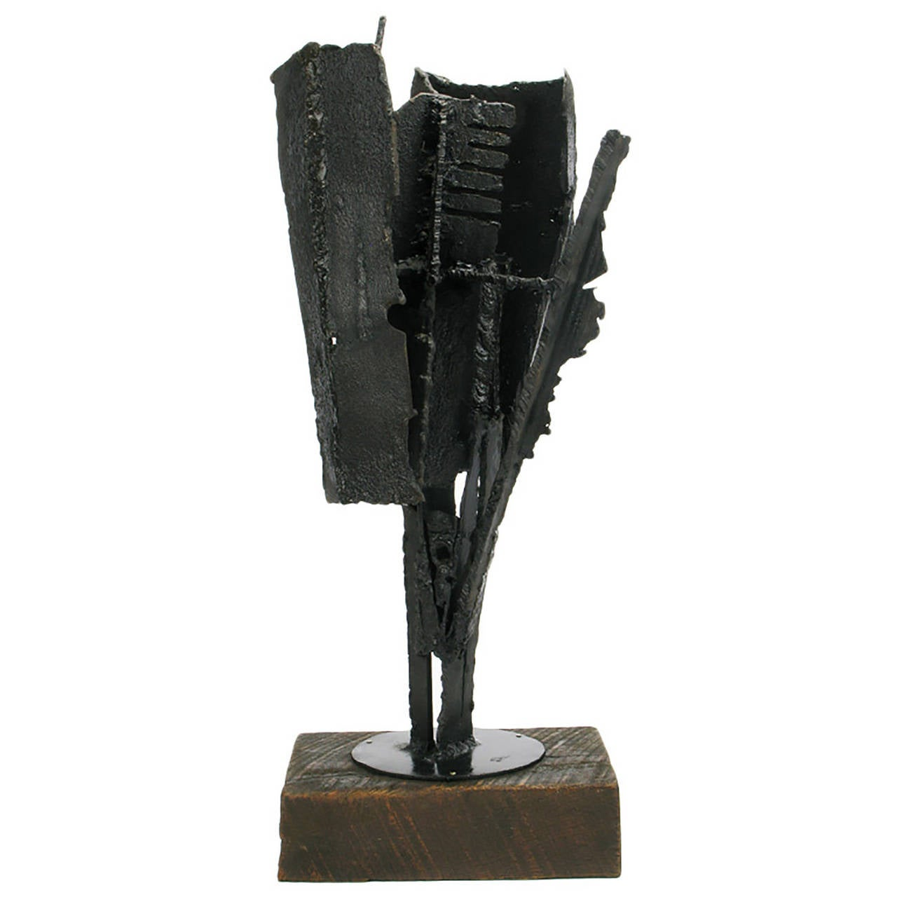 H.I. Gates Brutalist Metal Abstract Sculpture on Wood Base For Sale