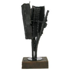 H.I. Gates Brutalist Metal Abstract Sculpture on Wood Base