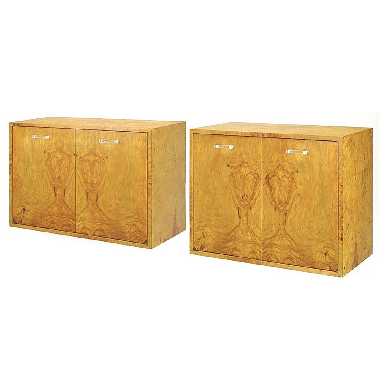 Pair Of Milo Baughman For Directional Burled Olive Wall Mount Cabinets At 1stdibs