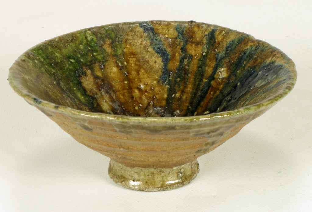 American Hand Thrown Ribbed Blue-Green Glaze Studio Pottery Bowl For Sale