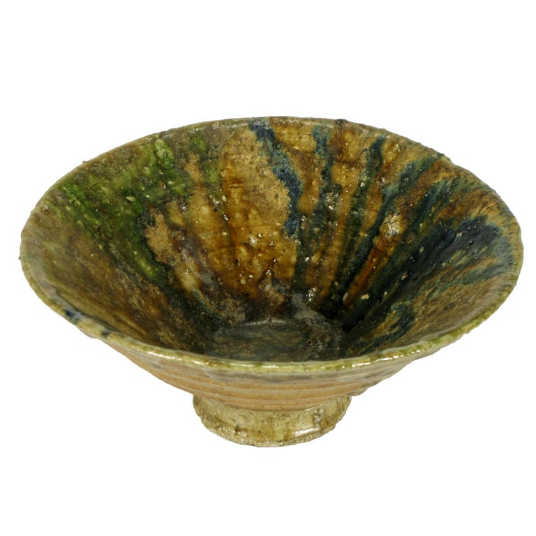 Hand Thrown Ribbed Blue-Green Glaze Studio Pottery Bowl For Sale