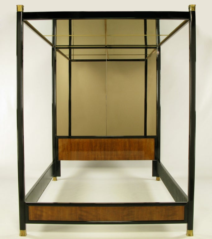 Henredon Mirror, Black Lacquer, and Walnut Queen Canopy Bed at 1stdibs