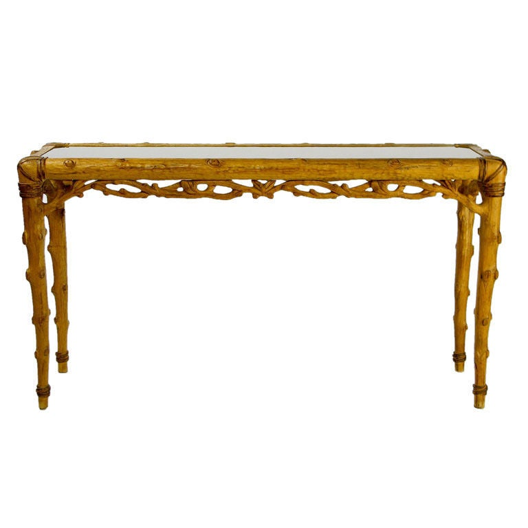 Carved faux bois and smoked glass console table at 1stdibs Table jardin imitation bois