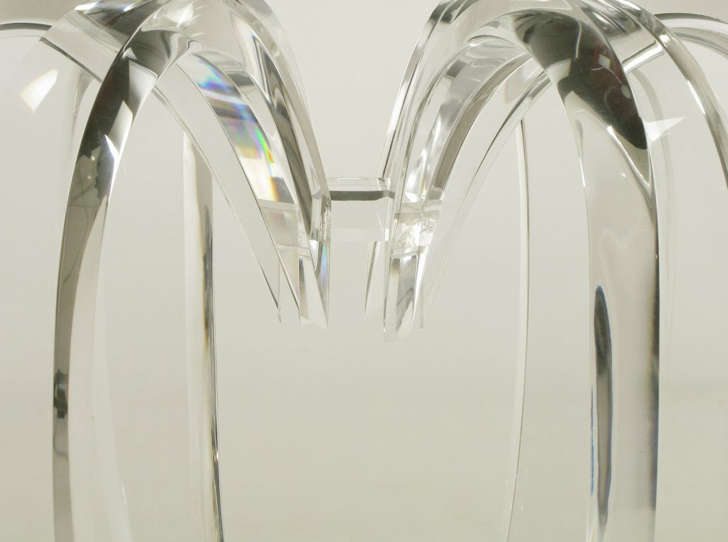 Melon Form Lucite And Glass End Table At 1stdibs