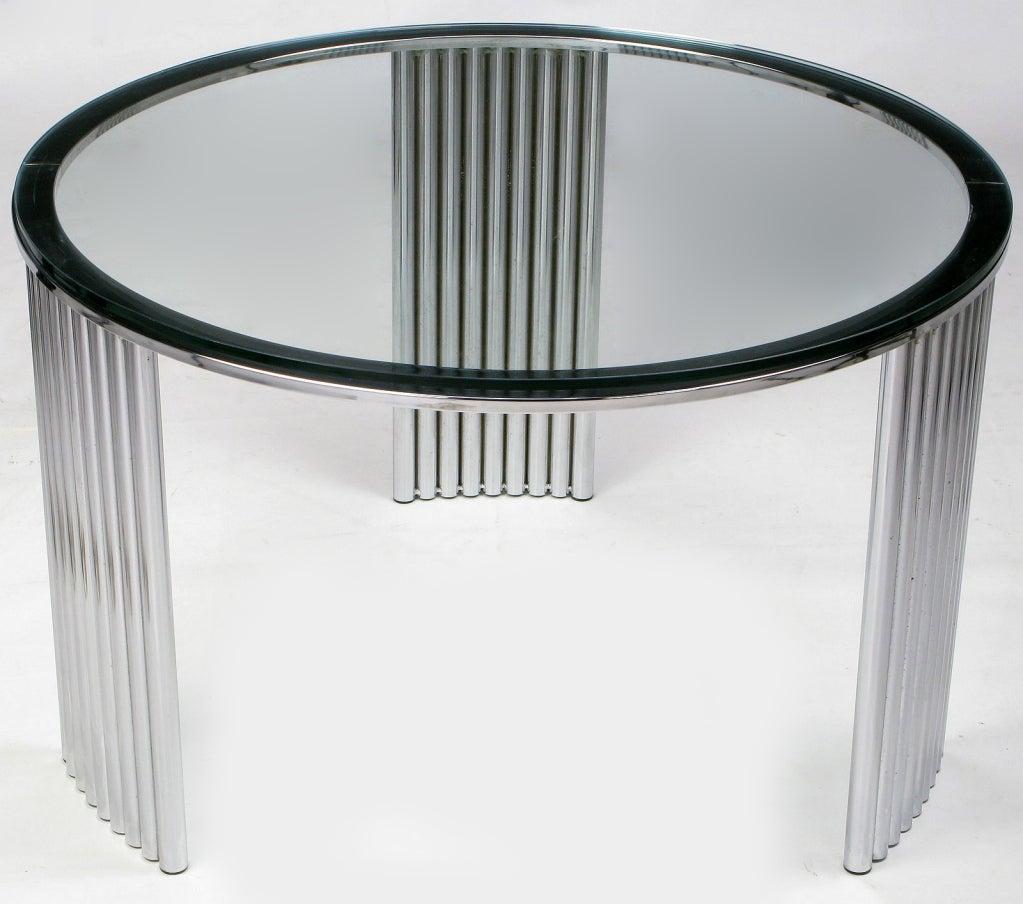 Tubular Chrome Coffee Table: Art Deco Tubular Chrome Coffee Table Attr. Vermillion Of