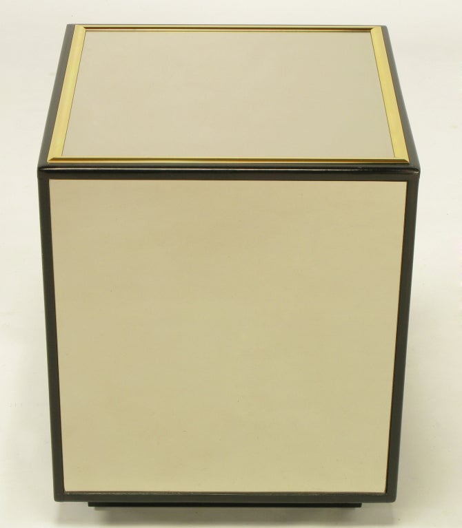 Pair Mirrored Black Lacquer And Brass Cube Tables At 1stdibs