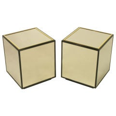 Pair Mirrored Black Lacquer & Brass Cube Tables