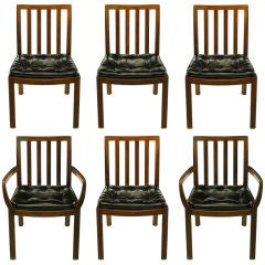 Six Bert England Forward Trend Walnut & Leather Dining Chairs