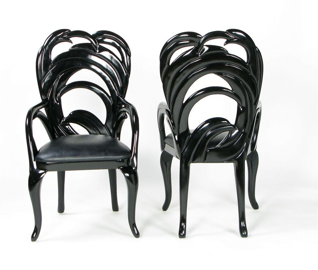 Black Lacquer Dining Room Chairs: Ten Phyllis Morris Black Lacquer And Leather Dining Chairs