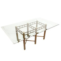 Oil Dropped Lacquer Dining Table with Glass Top