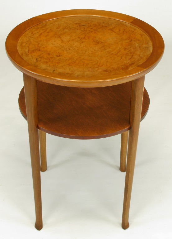 Round Two Tier Maple Side Table With Buffalo Leather Inlay 3