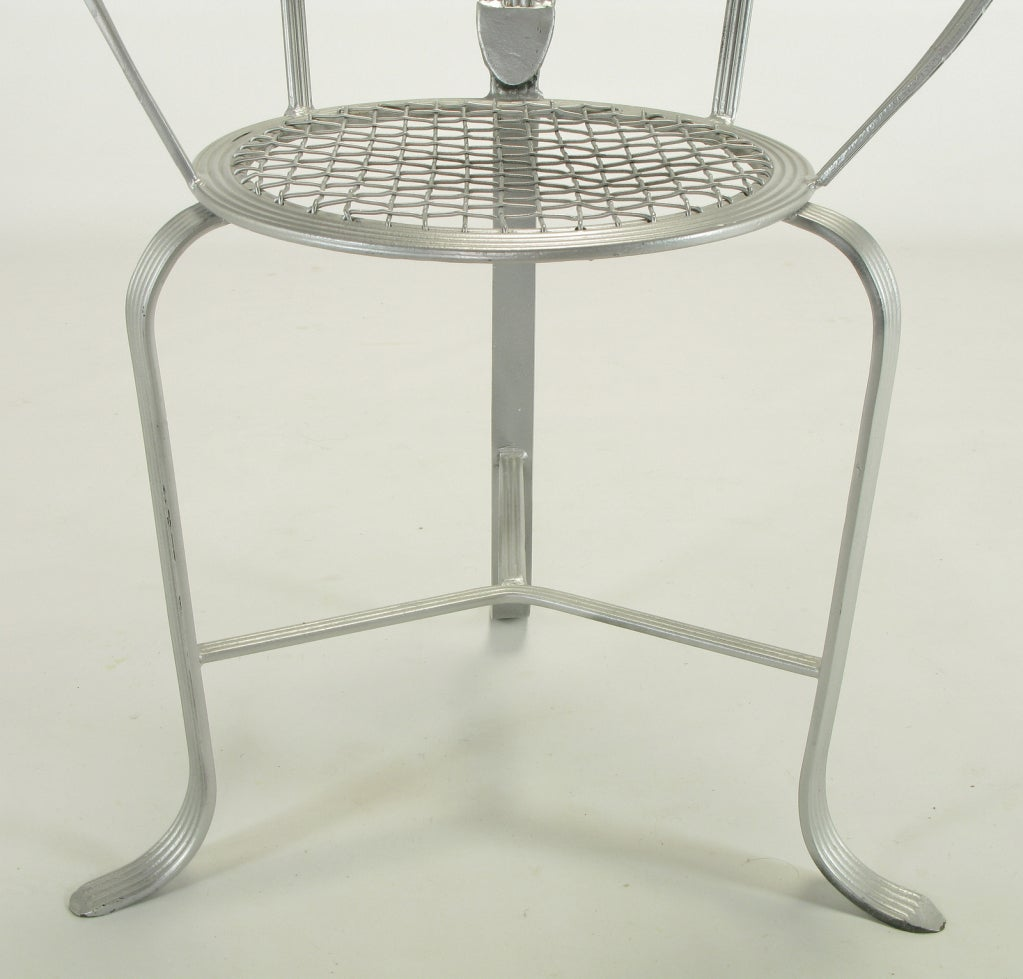 Incised Iron Three-Leg Side Chair For Sale 3
