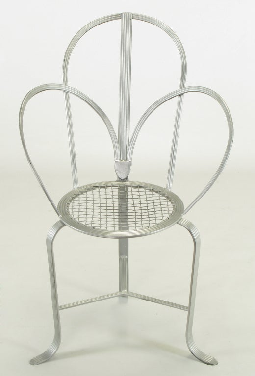Incised Iron Three-Leg Side Chair In Good Condition For Sale In Chicago, IL