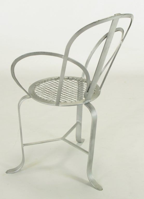 Mid-20th Century Incised Iron Three-Leg Side Chair For Sale