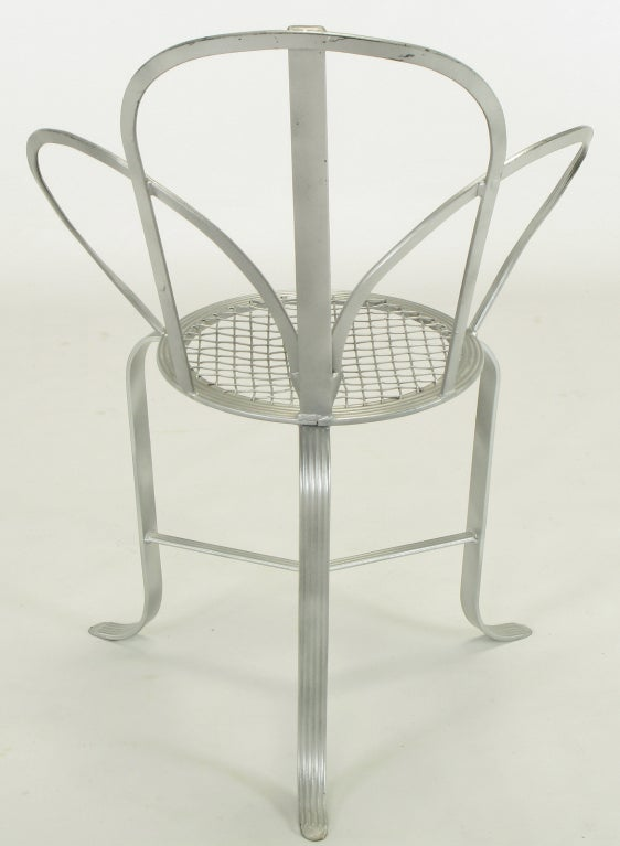 Wrought Iron Incised Iron Three-Leg Side Chair For Sale