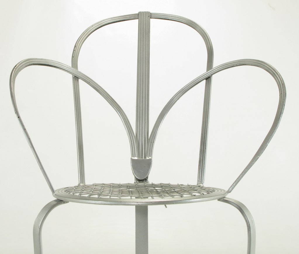 Incised Iron Three-Leg Side Chair For Sale 2