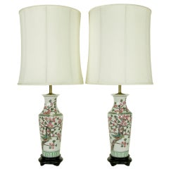 Norman Perry Cherry Blossom Chinese Porcelain Table Lamps