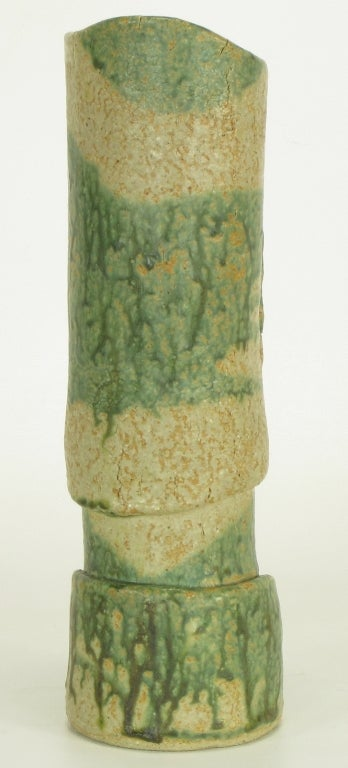 William A. Hoffman Three Part Earthen Glazed Pierced Vase In Excellent Condition For Sale In Chicago, IL