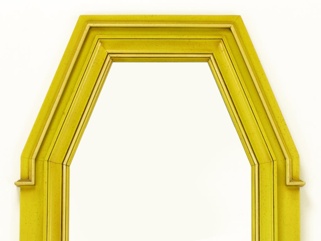 Neoclassical Console & Mirror In Glazed Yellow Lacquer image 10