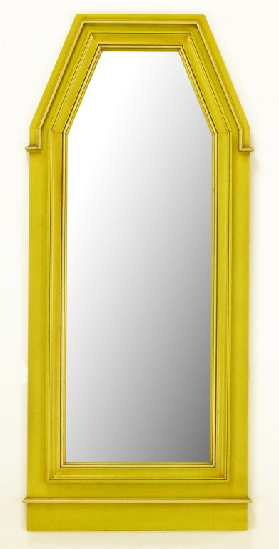 Neoclassical Console & Mirror In Glazed Yellow Lacquer image 2