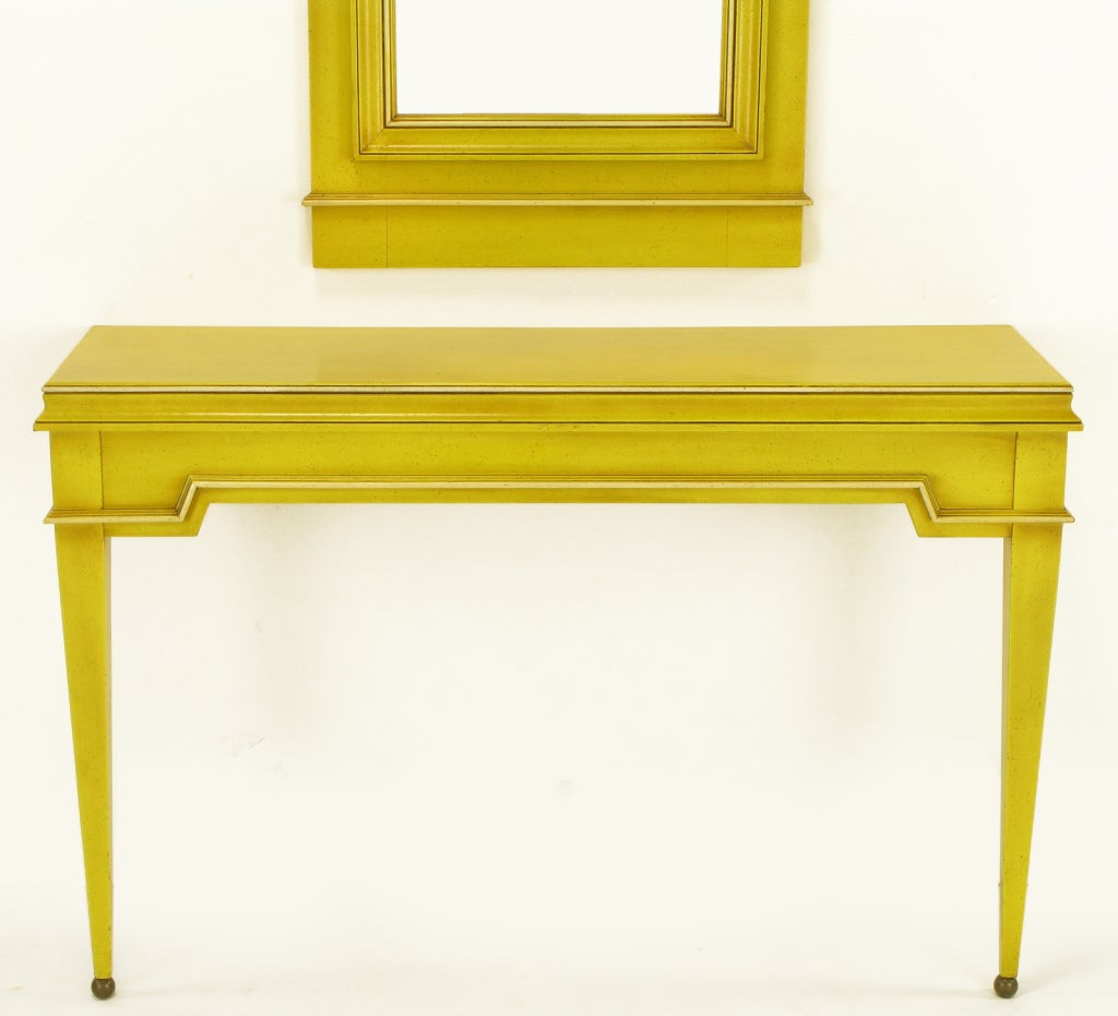Neoclassical Console & Mirror In Glazed Yellow Lacquer image 3