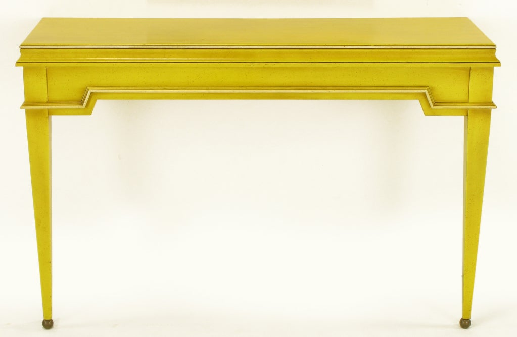 Neoclassical Console & Mirror In Glazed Yellow Lacquer image 4