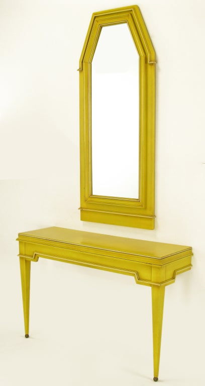 Neoclassical Console & Mirror In Glazed Yellow Lacquer image 5