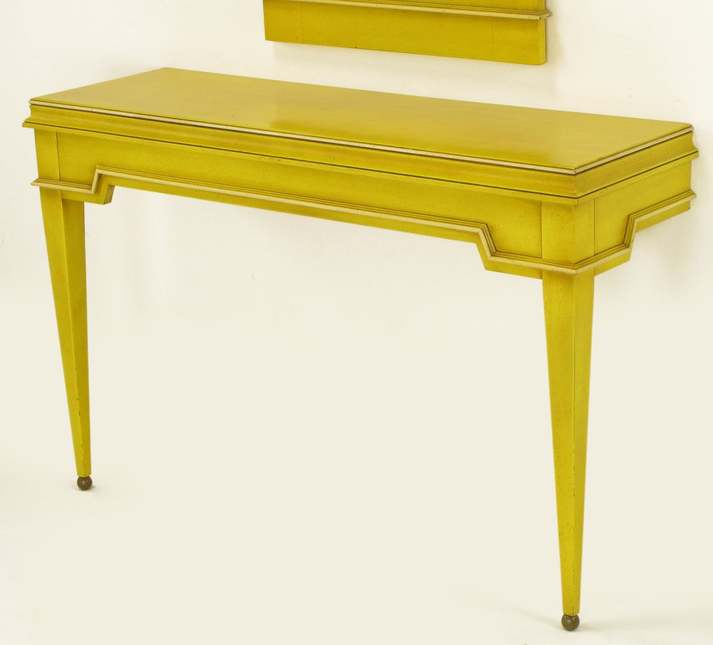 Neoclassical Console & Mirror In Glazed Yellow Lacquer image 7