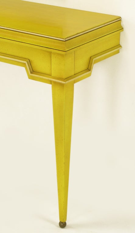 Neoclassical Console & Mirror In Glazed Yellow Lacquer image 8