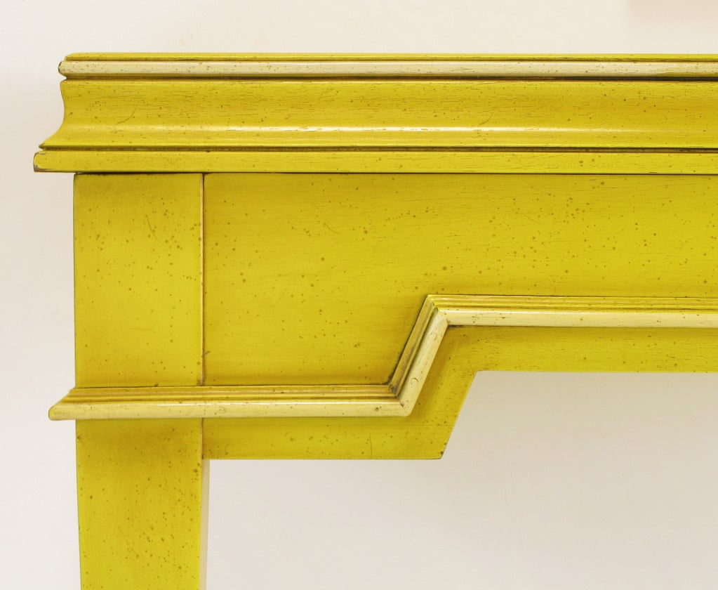 Neoclassical Console & Mirror In Glazed Yellow Lacquer image 9