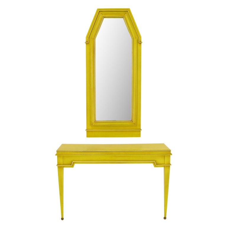 Neoclassical Console & Mirror In Glazed Yellow Lacquer