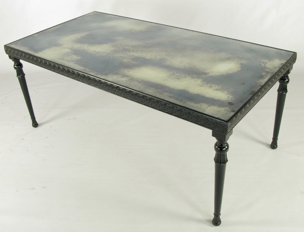 Carved black lacquer and antique mirror dining table at for Black dining table