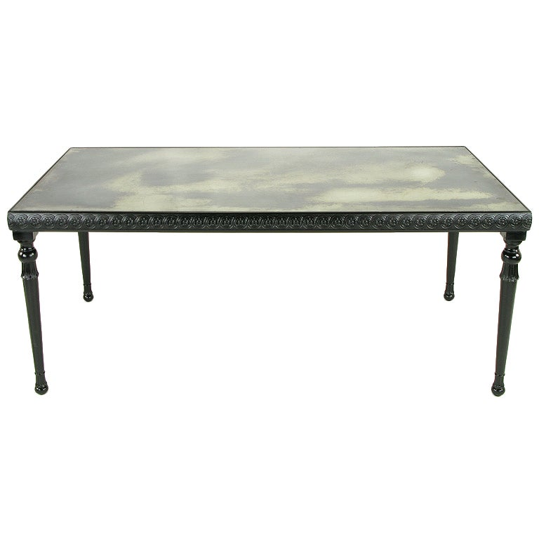 Carved Black Lacquer And Antique Mirror Dining Table At