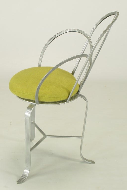 Mid-Century Modern Incised Iron Three-Leg Side Chair For Sale