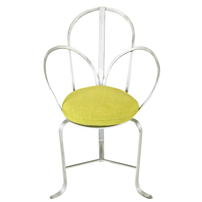 Incised Iron Three-Leg Side Chair For Sale