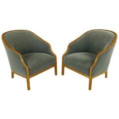 Pair Ward Bennett Club Chairs In Walnut & Mohair