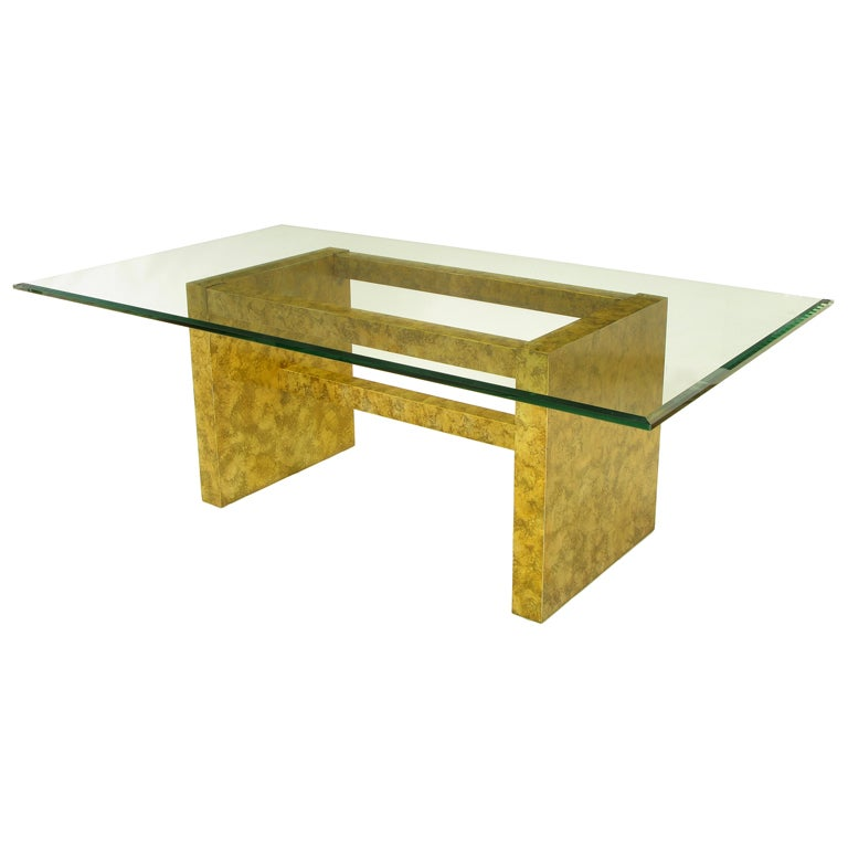 "Henredon ""Circa 75"" Oil Drop Lacquer and Glass Dining Table For Sale"