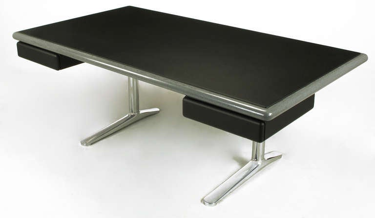 American Warren Platner Steel Grey Cerused Oak & Black Leather Executive Desk For Sale