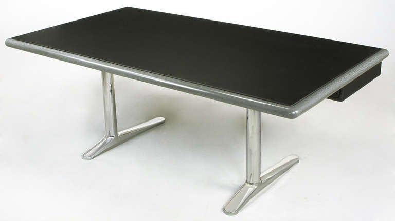 Mid-20th Century Warren Platner Steel Grey Cerused Oak & Black Leather Executive Desk For Sale