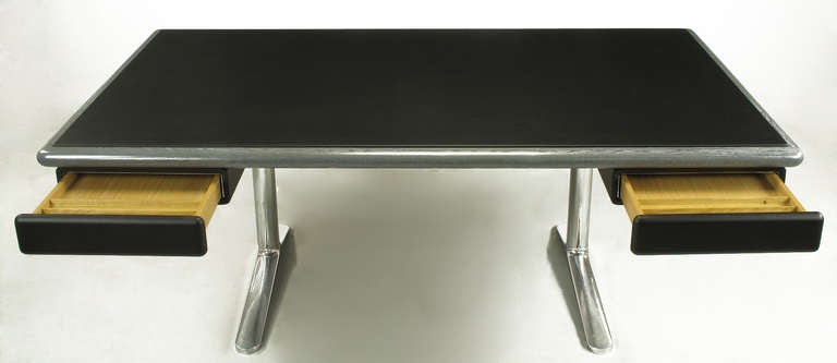 Warren Platner Steel Grey Cerused Oak & Black Leather Executive Desk For Sale 2