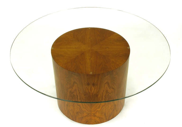 American Highly Figured Walnut Pedestal Coffee Table For Sale