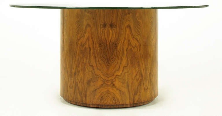 Highly figured walnut veneered cylinder base with quartered parquetry top in the manner of Harvey Probber. 20