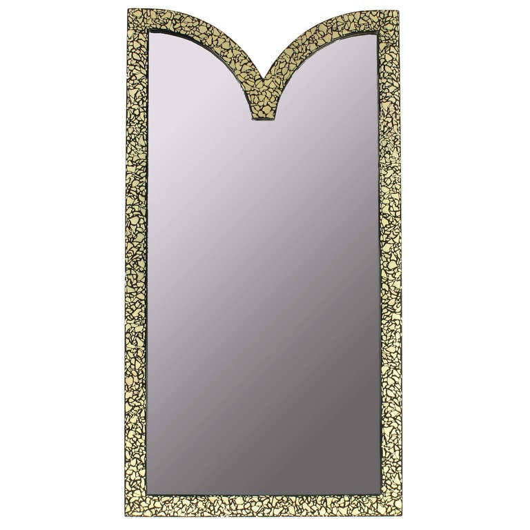 Faux Mother-of-Pearl and Black Lacquer Mirror by Baker